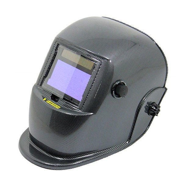 mascara de solda escurecimento automatico com regulagem carbon fiber vortech