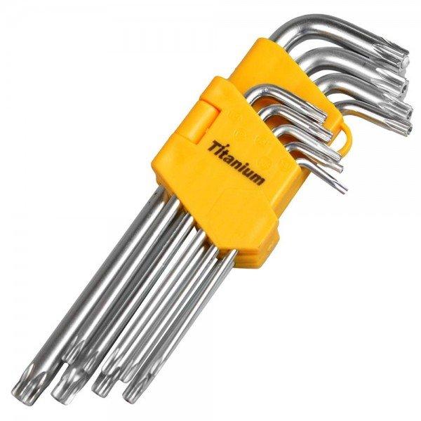 jogo de chaves torx curta t10 a t50 9 pecas 4517 titanium