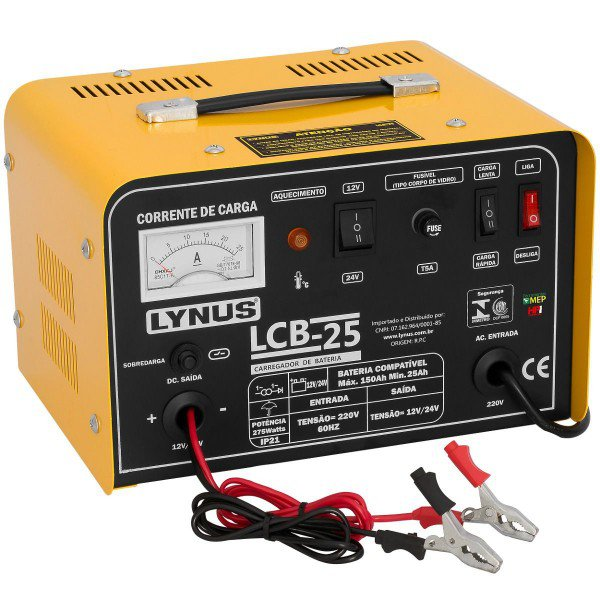 carregador de bateria portatil lcb 25 lynus incorzul