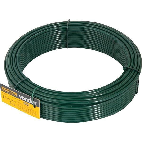 Arame galvanizado revestido com PVC verde BWG 14   Vonder   Incorzul